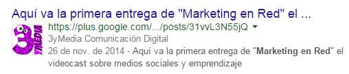 Google+ enriqueciendo un snippet