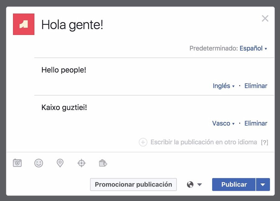 Publicando en varios idiomas en Facebook