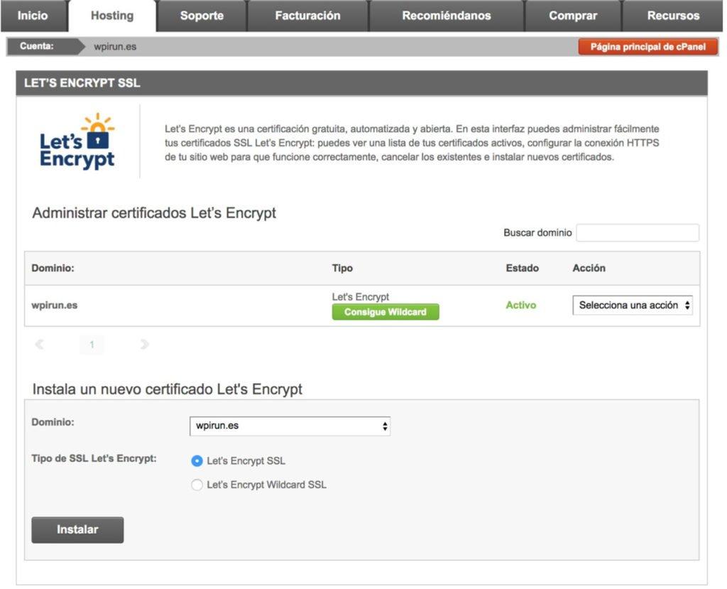 Instalación de certificado SSL Let's Encrypt en Siteground Paso 3