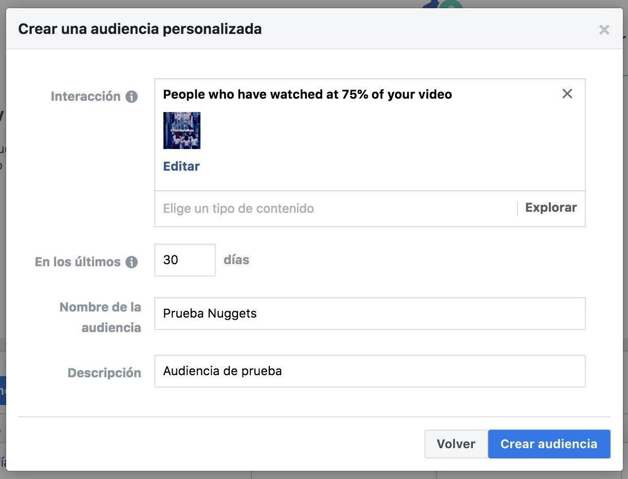 ultimo paso Facebook Nugget