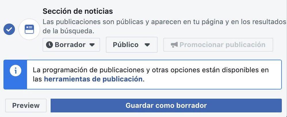 Guardar como borrador en Facebook