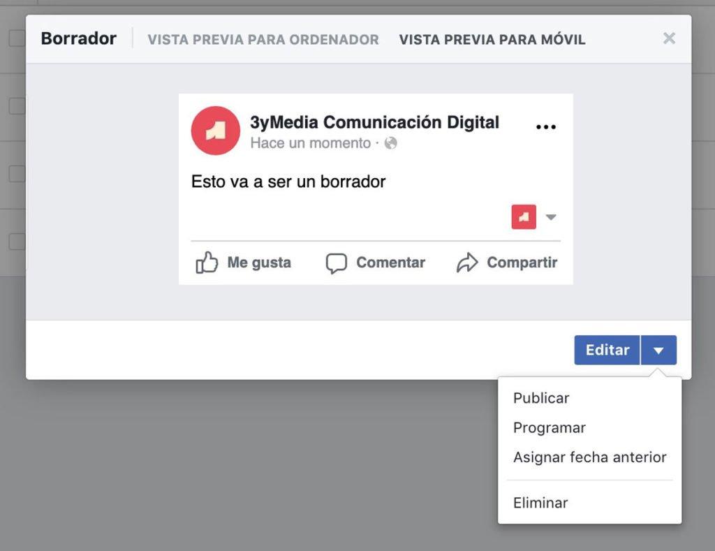 Editar los borradores de Facebook