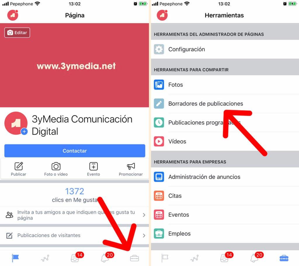 Consultar borradores de Facebook desde el móvil